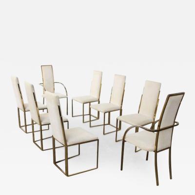 Romeo Rega Set of 8 Romeo Rega Brass Dining Chairs Italy 1970s