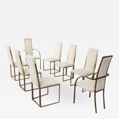 Romeo Rega Set of 8 Romeo Rega Brass Dining Chairs Italy 1970s