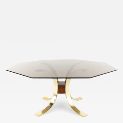 Romeo Rega Style Mid Century Brass Burlwood and Glass Dining Table