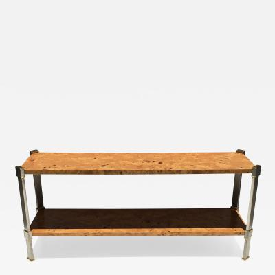 Romeo Rega Two Tiered Burlwood Console Sofa Table att to Romeo Rega