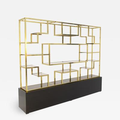Romeo Rega Vintage bookcase by Romeo Rega in Brass Glass and Wood