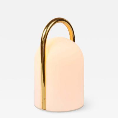 Romolo Lanciani 1980s Romolo Lanciani Brass and Glass Tender Table Lamp for Tronconi