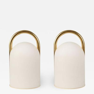 Romolo Lanciani 1980s Romolo Lanciani Brass and Glass Tender Table Lamps for Tronconi