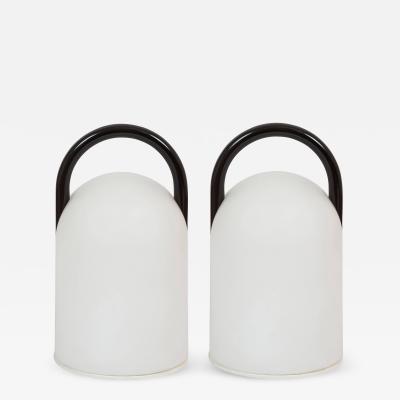 Romolo Lanciani Pair of 1980s Romolo Lanciani Black Tender Table Lamps for Tronconi