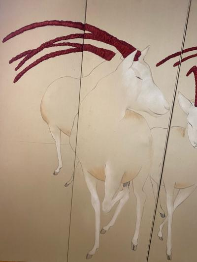 Ron Fritts EXTRAORDINARY FABRIC SCREEN OF ANTELOPES BY RON FRITTS