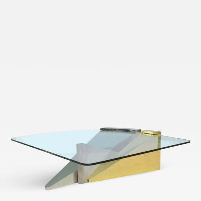 Ron Seff American Modern Polished Brass Chrome Stainless and Glass Low Table