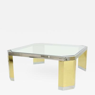 Ron Seff American Modern Polished Brass Chrome and Glass Low Table