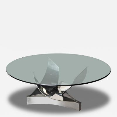 Ron Seff American Modern Stainless and Polished Chrome Dining Table Ron Seff