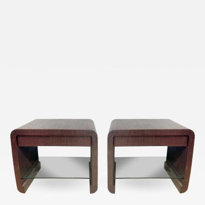 Ron Seff Ron Seff Pair of Bedside Tables in Ox Blood Lacquered Linen 1980s