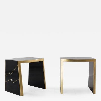 Ron Seff Ron Seff Pair of Ritz Gilt and Lacquer Side Tables USA c 1980