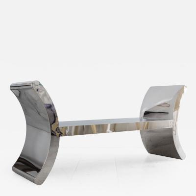 Ron Seff Ron Seff Polished Steel Bench USA c 1980