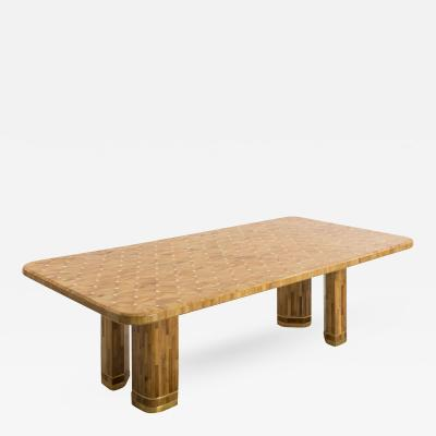 Ron Seff Ron Seff Raffia Wood Marquetry Dining Table USA c 1980