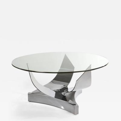 Ron Seff Ron Seff Sculptural Round Stainless Steel and Glass Dining Table