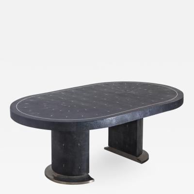 Ron Seff Ron Seff Shagreen Racetrack Dining Table USA c 1980