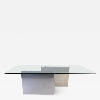 Ron Seff Ron Seff Style Sculptural Stainless Steel Glass Top Dining Table circa 1970