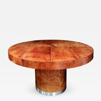 Ron Seff Round Lacquered Goatskin Dining Table by Ron Seff