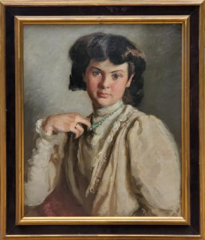Ronald Gray Portrait Of A Woman Pulling On Her Necklace an Oil Painting by Ronald Gray