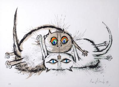 Ronald Searle Young Cat Blames Her Puberty