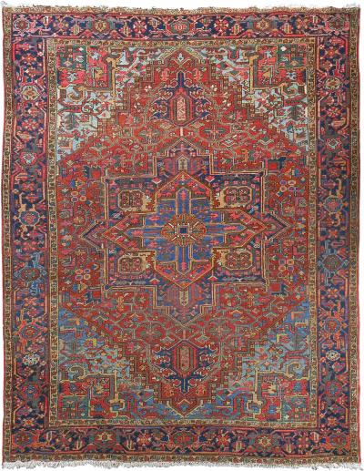 Room Size Semi Antique Heriz Rug with Serapi Colors circa 1930 7 75 x 12