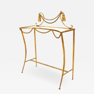 Rope and Tassel Gilt and Glass Console Table