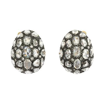 Rose Cut Diamond Egg Earrings