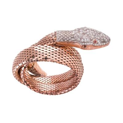 Rose Gold Coiled Snaked Wrap Bracelet with Diamonds