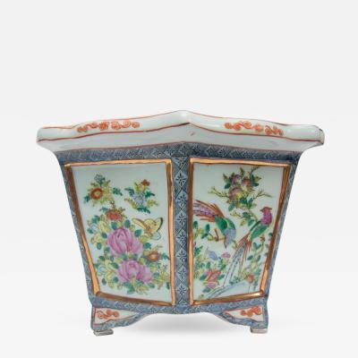 Rose Medallion Rectangular Ceramic Cache Pot Jardiniere