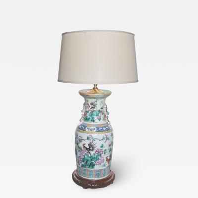Rose Medallion Rooster Vase Lamp
