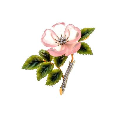 Rose Quartz Jade Diamond Gold Flower Brooch