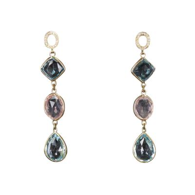 Rose Quartz and Blue Topaz Earrings with Diamonds 18 Karat Yellow