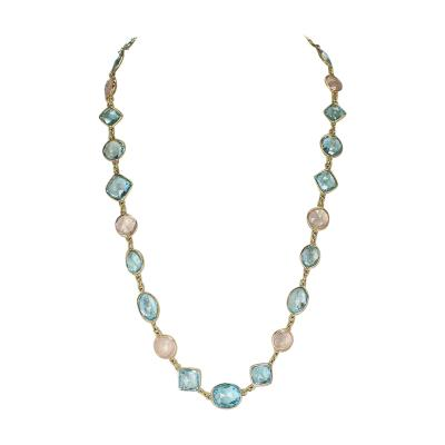 Rose Quartz and Blue Topaz Faceted Necklace Mixed Shapes 18K Fine Necklace