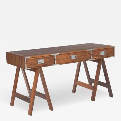 Rosewood Campaign Desk on Saw Horse Legs