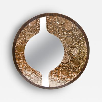 Rosewood Veneer Mirror with Sculptural Motif