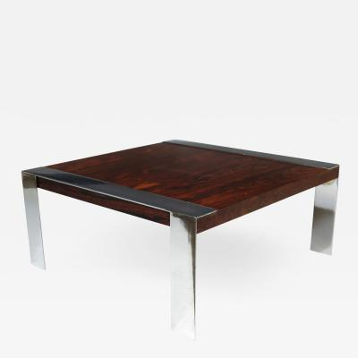 Rosewood and Chrome Mid century Coffee Table