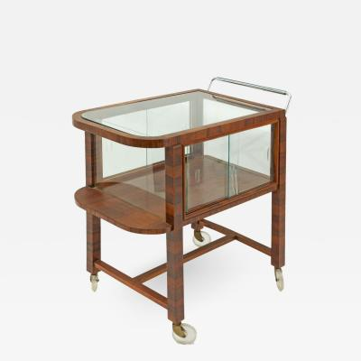 Rosewood and Glass Bar Cart or Drink Trolley