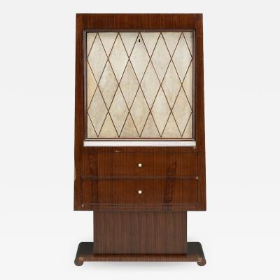 Rosewood and parchment art deco cabinet