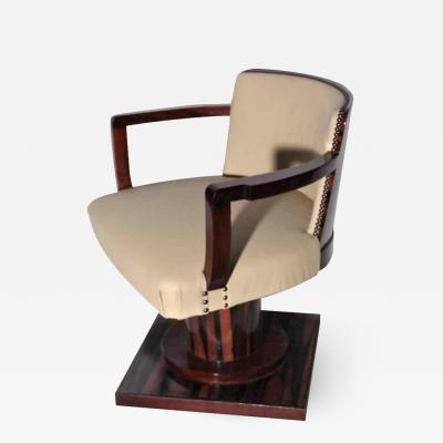 Rotating desk armchair in Macassar ebony Art Deco period