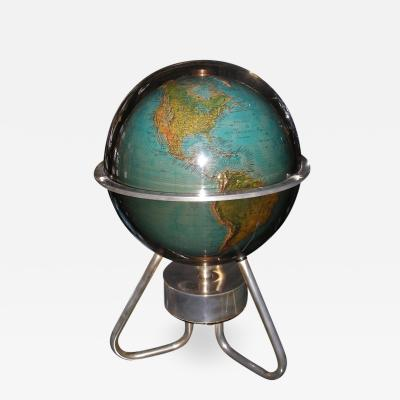Rotating lighting terrestrial globe Italy 1970 period