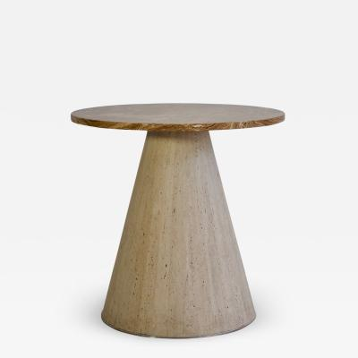 Round Agate and Travertine Stone Side Table