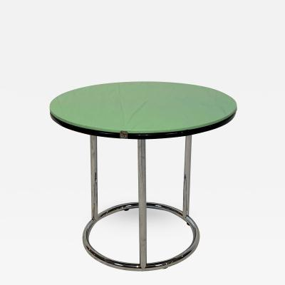 Round Bauhaus Side Table Chrome Black and Green Glass Germany circa 1930
