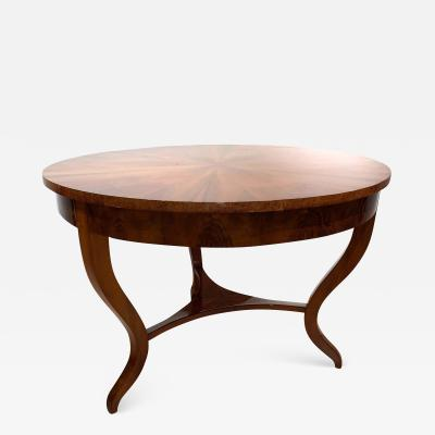 Round Biedermeier Table Walnut Veneer and Roots South Germany circa 1825