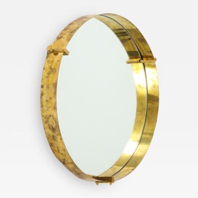 Round Brass Mirror Italy c 1980s