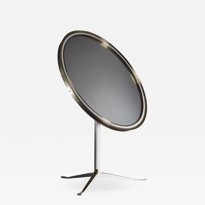 Round Brass and White Console or Vanity Mirror Germany 1950s