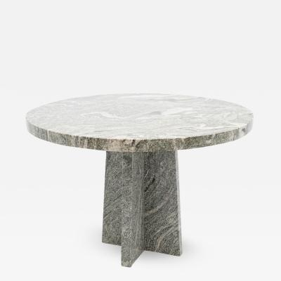 Round Brutalist Style Granite Dining Table 1970s