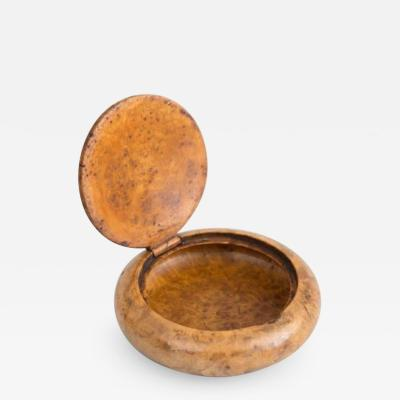 Round Burl Birch Snuff Box Early 20th Century