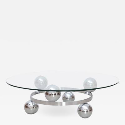 Round Chrome Sputnik Atomic Coffee Table with Glass Top