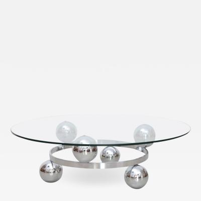 Round Chrome Sputnik Atomic Coffee Table with Glass Top