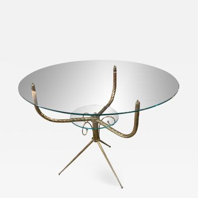 Round Deco Coffee Table in Brass Italy 1940s