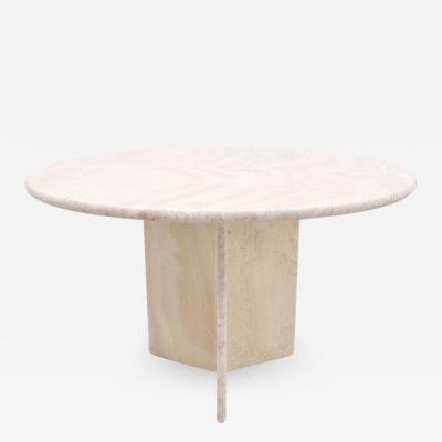 Round Dining Table in Italian Travertine Stone 1970s