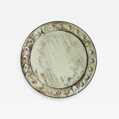 Round Glass Mirror with Appliques